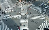 People Passing The Street Crossing In Ginza District, Tokyo. Crosswalk. Intersection In Tokyo. poster