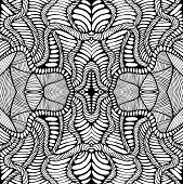 Fantastic Coloring Page Abstract Pattern With Maze Of Ornaments. Psychedelic Stylish Card. Vector Il poster