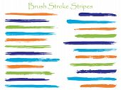 Abstract Orange Ink Brush Stroke Stripes Vector Set, Horizontal Marker Or Paintbrush Lines Patch. Ha poster