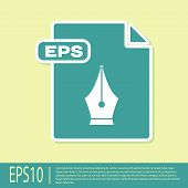 Green Eps File Document. Download Eps Button Icon Isolated On Yellow Background. Eps File Symbol. Ve poster