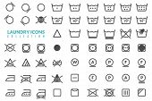 Laundry Flat Icons Set. Large Set Of Linear Icons On The Theme Of Washing Care Of Textiles Graphics  poster