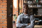 Happy Confident African Waiter Small Business Owner Portrait poster