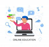 Young Handsome Man In Laptop Holds Books In His Hand With Speak Bubble. Online Education Concept. E- poster