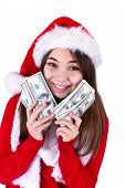 stock photo of paycheck  - Santa Will Bring More Money - JPG