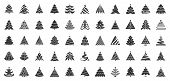 Christmas Tree Flat Glyph Icons Set. Xmas Symbol, Simple Pictogram Collection. Winter Season Design  poster