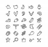 Meat Butchery Black Thin Line Icon Set Include Of Pig, Cow, Poultry And Lamb. Vector Illustration Of poster