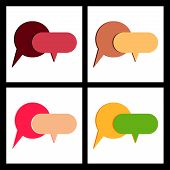 Message Bubbles Chat Vector. Vector Template Of Message Bubbles Chat Boxes Icons poster