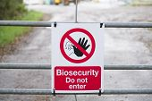 Chemical Factory Biosecurity Sign Warning Dangerous Hazard At Entrance Gate poster