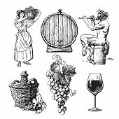 Set Of Hand Drawn Elements For Wine Design. Beautiful Peasant Woman Carrying Basket, Bunch Of Grapes poster