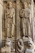 Statues Of Apostles On The West Portal  Saint Trophime Cathedral In Arles, France. Bouches-du-rhone, poster