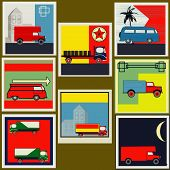 picture of campervan  - Set of retro Van and Lorry vintage labels - JPG