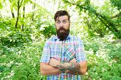 Always In A Fashionable Manner. Fashionable Look Of Surprised Hipster On Natural Landscape. Fashiona poster