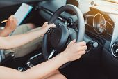 Woman Practice Driving Car Exam Driver Licence Control Steering Wheel Education And Learn On Street  poster