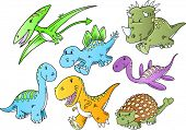 stock photo of ankylosaurus  - Cute Dinosaur Animal Vector Illustration Doodle Art Set - JPG