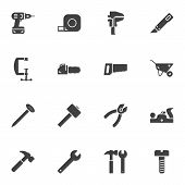 Repair Tool Vector Icons Set, Modern Solid Symbol Collection, Filled Style Pictogram Pack. Signs Log poster
