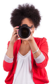 picture of afro hair  - Young african american photographer with camera isolated on white background - JPG