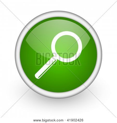 search green circle glossy web icon on white background
