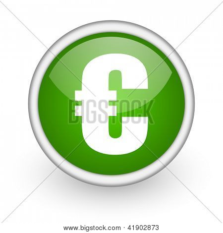 euro green circle glossy web icon on white background