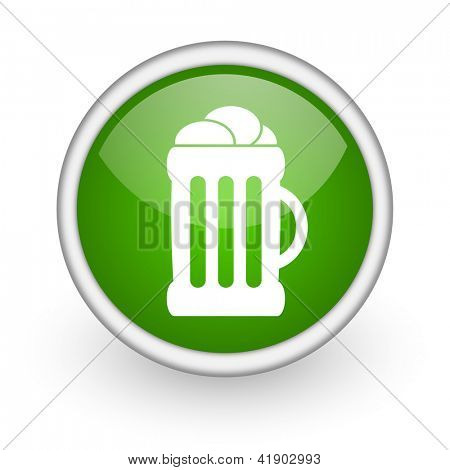 beer green circle glossy web icon on white background