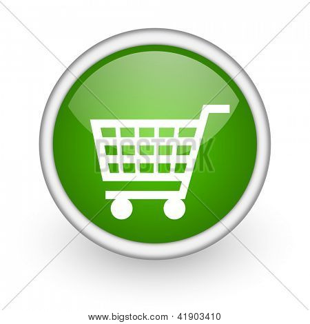 shopping cart green circle glossy web icon on white background