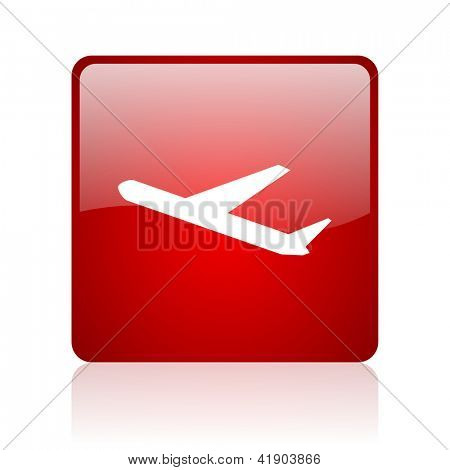 airplane red square glossy web icon on white background