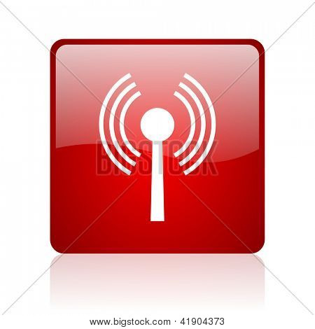 wifi red square glossy web icon on white background