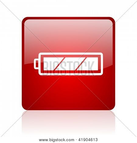 battery red square glossy web icon on white background