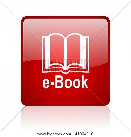 e-book red square glossy web icon on white background