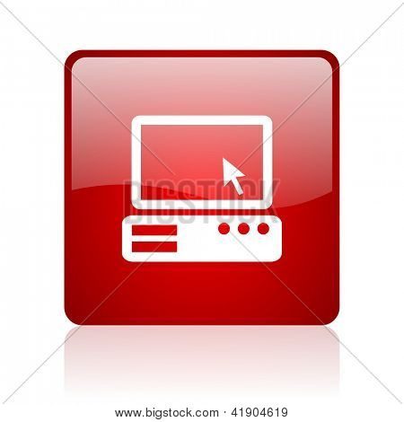 pc red square glossy web icon on white background