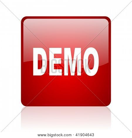 demo red square glossy web icon on white background