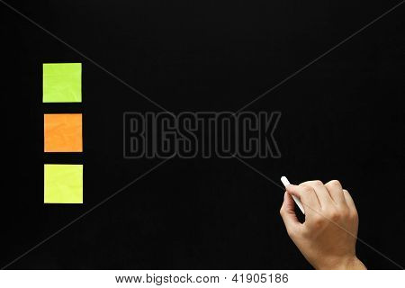 Blank Blackboard And Three Sticky Notes With Hand
