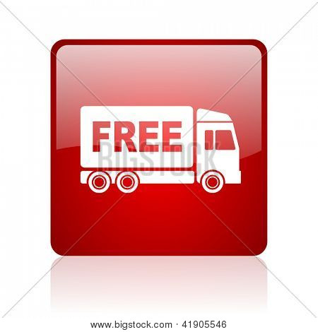 free delivery red square glossy web icon on white background