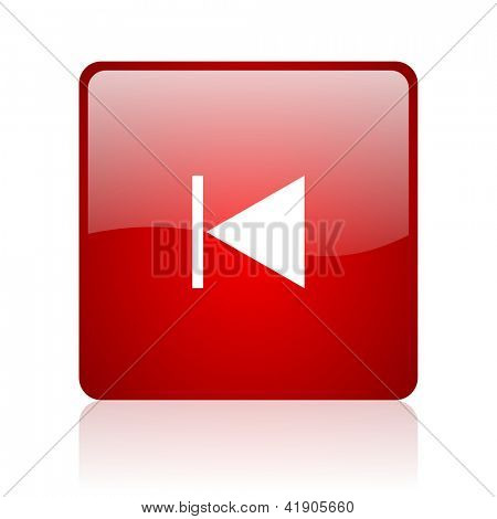 prev red square glossy web icon on white background