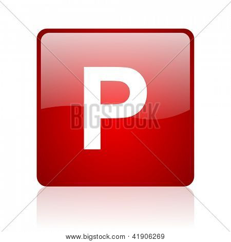 park red square glossy web icon on white background