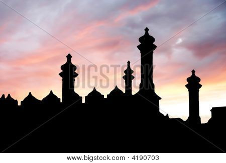 Castle Silhouette On Sunset Sky Background