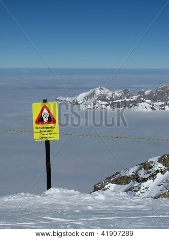 Crevasses, Danger Sign On The Titlis