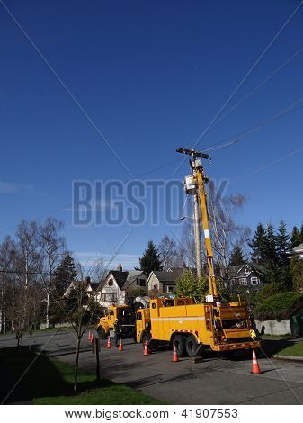 Seattle City Light Workmen Replace An Aging Utility Pole