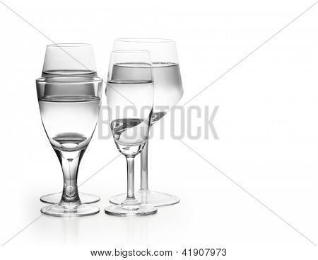 big glassware collection isolated on white background