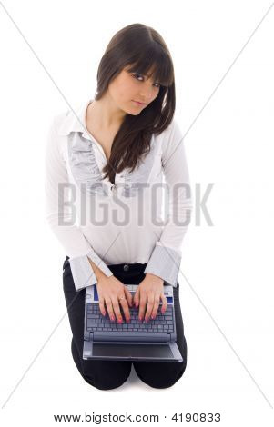 Girl With Laptop Over White