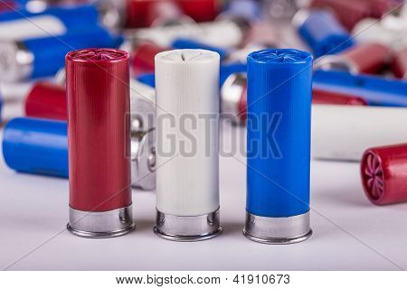 Red, White, And Blue 12 Gauge Shotgun Shells