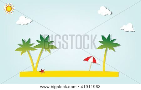 parasol under palm trees