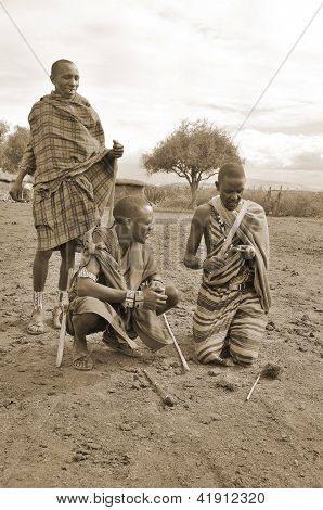 Portrait of unidentified young Maasai warriors