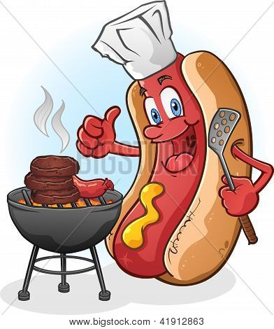 Hot Dog Chef Cartoon Grilling Burgers