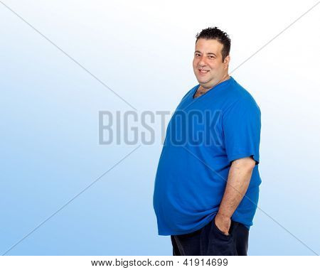 Happy fat man isolated on a blue background