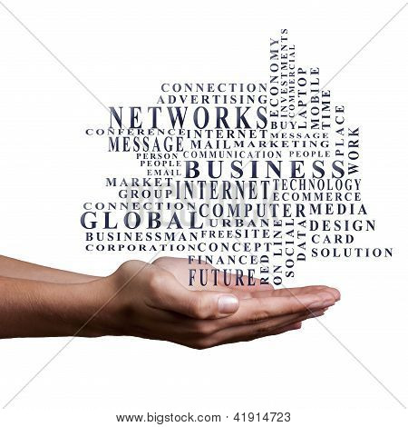 hands with business words