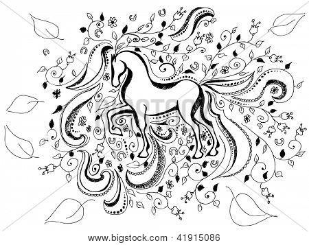hand drawn horse background