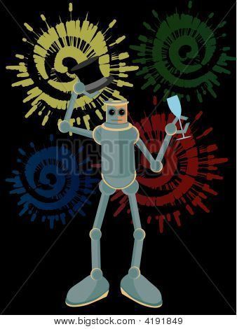 Robot Holding Drink And Hat With Fireworks