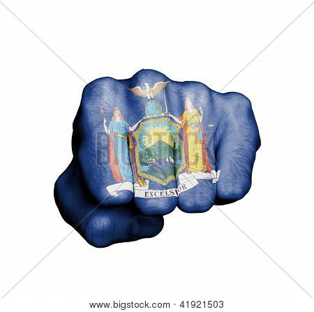 United States, Fist With The Flag Of New York