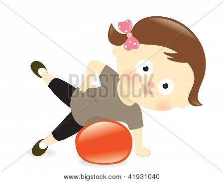 Girl exercising with ball