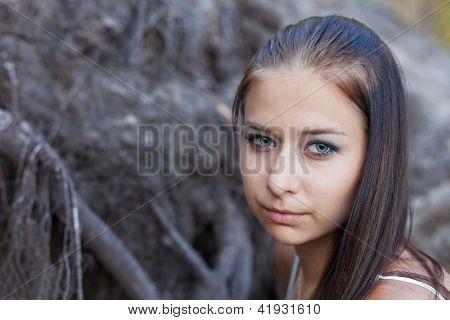Portrait Of Melancholy Girl